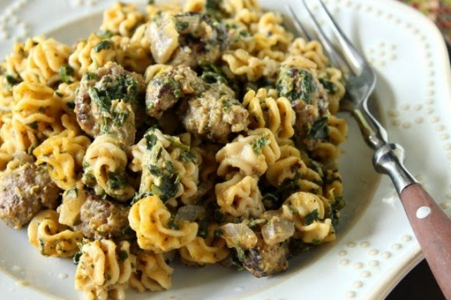 Pumpkin and Sausage Pasta with spinach and nutmeg.