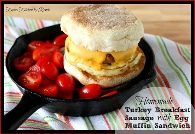 Homemade Turkey Breakfast Sausages are made into an egg muffin sandwich.