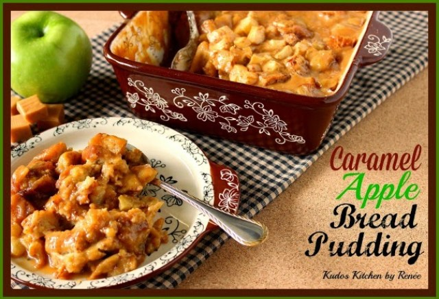 Caramel Apple Bread Pudding via Kudos Kitchen by Renee