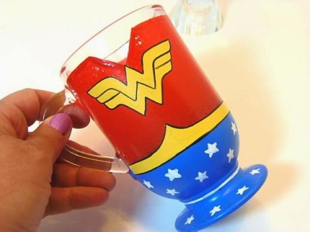 Wonder Woman Painted Coffee Mug / www.kudoskitchenbyrenee.wazala.com