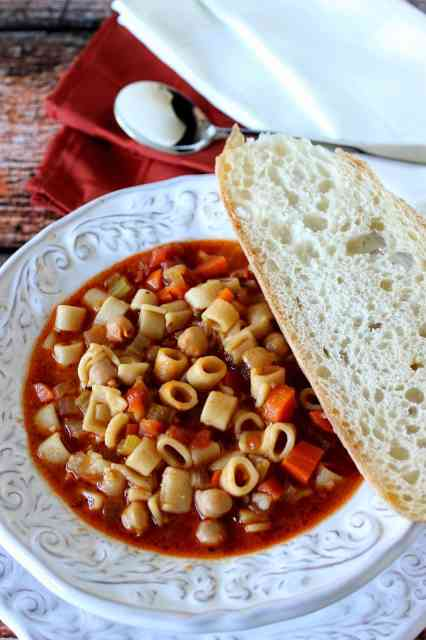Tuscan Pasta Soup is rich and hearty with no meat but plenty of protein. | Kudos Kitchen by Renee