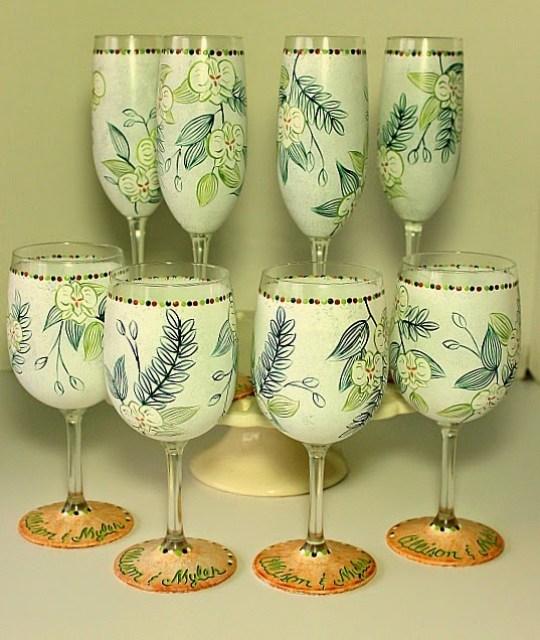 Custom Hawaiian Wedding Invitation Wine Glasses via www.kudoskitchenbyrenee.wazala.com
