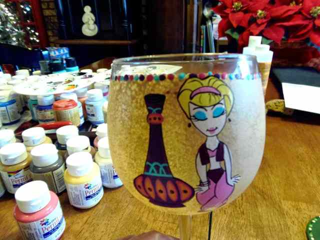 I Dream Of Jeannie Painted Wine Glass / www.kudoskitchenbyrenee.wazala.com