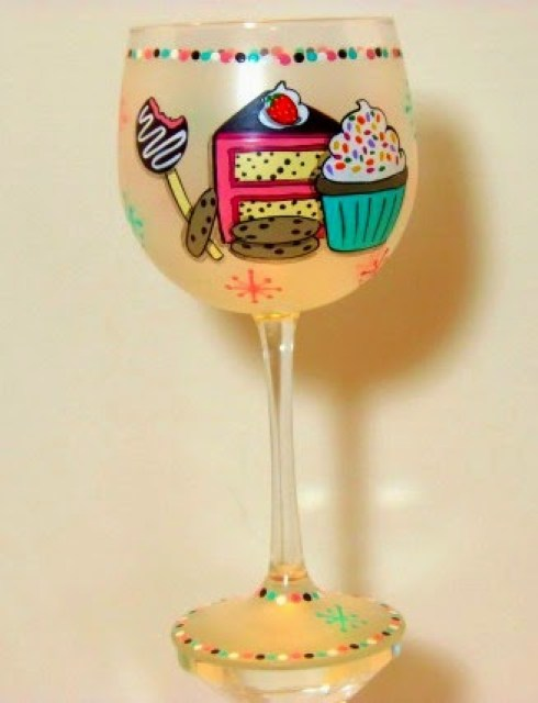 Sweets Lover Painted Wine Glass by Kudos Kitchen by Renee