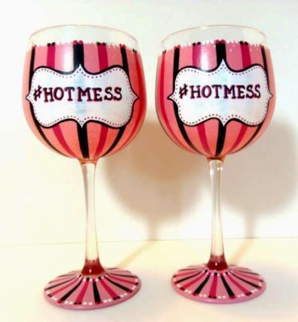 Pink and black Hot Mess hand painted wine glasses - www.kudoskitchenbyrenee.wazala.com