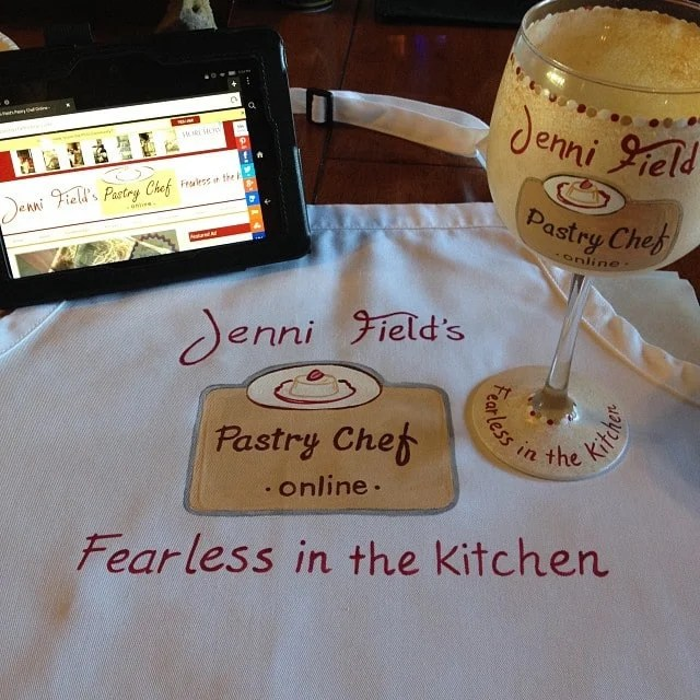Hand Painted Food Blogger Apron and Wine Glass - Kudos Kitchen by Renee