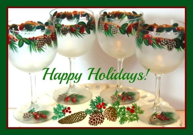 Pine Cones and Holly Berries Painted Wine Glasses