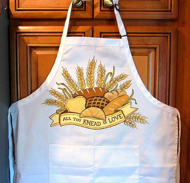 All you knead is love hand painted apron.
