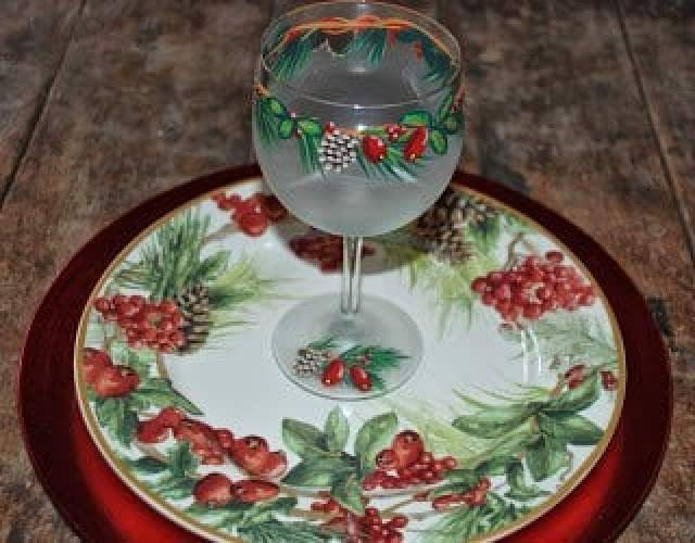 Pine Cone and Holly Berries Painted Wine Glass