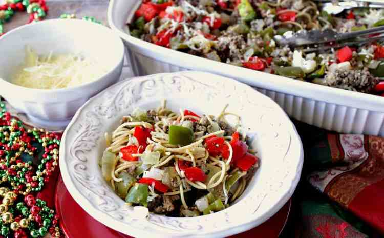 christmas pasta with red green bell peppers