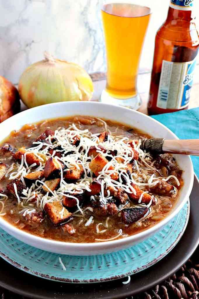 German Onion Soup with Beer and Bratwurst - www.kudoskitchenbyrenee.com