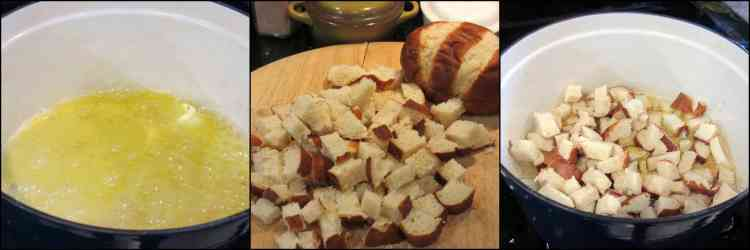 How to make German onion soup with bratwurst and pretzel roll croutons. - kudoskitchenbyrenee.com