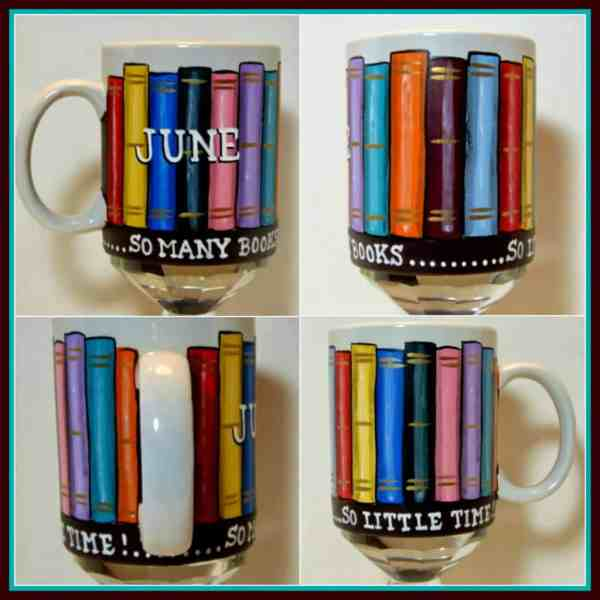 hand painted library books coffee mug - kudoskitchenbyrenee.com