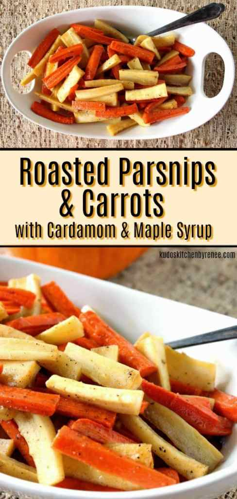 The flavors of Roasted Parsnips & Carrots are great by themselves but add a dash of cardamom, and a drizzle of pure maple syrup and you now have a side dish that is a worthy companion for anything (and everything) else vying for attention on the dinner plate. - kudoskitchenbyrenee.com