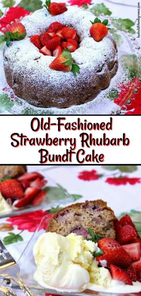 Delight your family and friends with this Old Fashioned Strawberry Rhubarb Bundt Cake. It's so moist and tender that you'll wish rhubarb was in season all year long! - kudoskitchenbyrenee.com