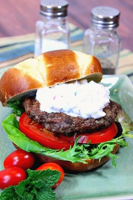 Juicy Greek Lamb Burgers with Feta Cheese & Tzatziki Sauce - www.kudoskitchenbyrenee.com