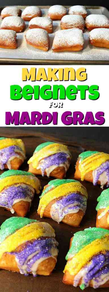 Purple, Green, and Gold Beignets and Powdered Sugar Beignets for Mardi Gras Recipe | Kudos Kitchen