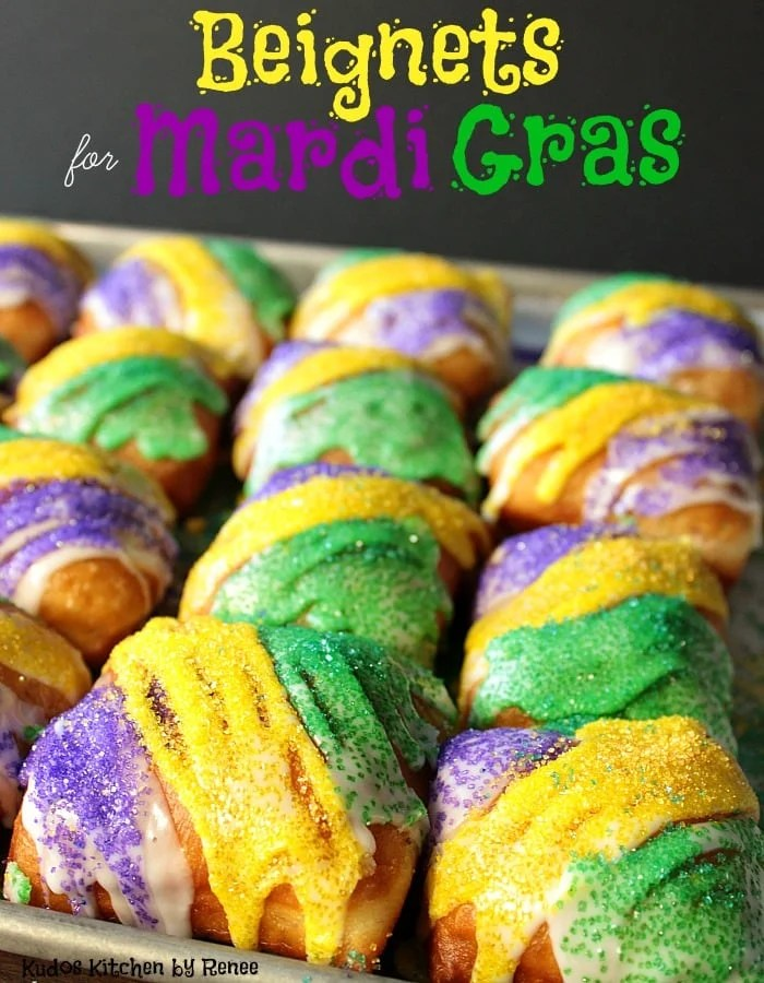Purple, Green, and Gold Beignets for Mardi Gras Recipe | Kudos Kitchen