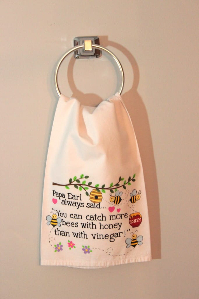Hand Painted Bees and Honey Tea Towel