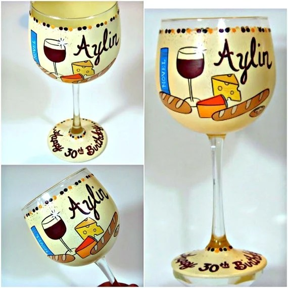 Hand Painted Bread and Cheese Wine Glass