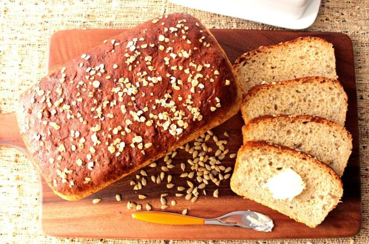 Hearty Oatmeal Honey Bread is slightly sweet with a great texture for slicing.