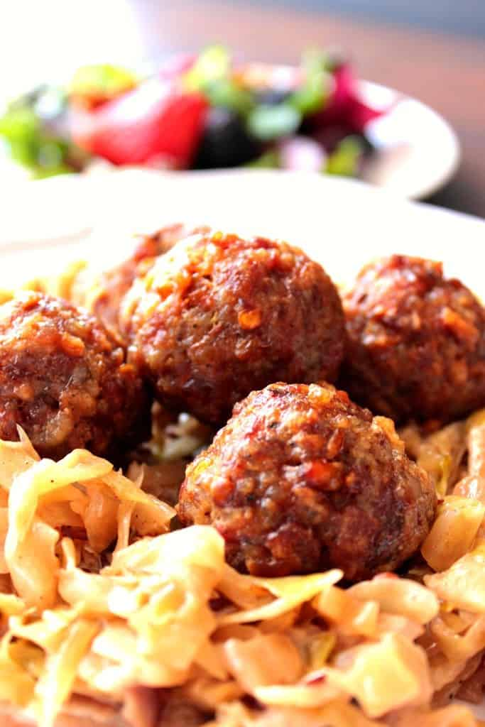 Pork Meatballs with Dijon and Pretzels