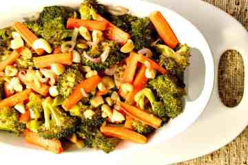 Oven Roasted Carrots, Broccoli, Shallots and Cashews