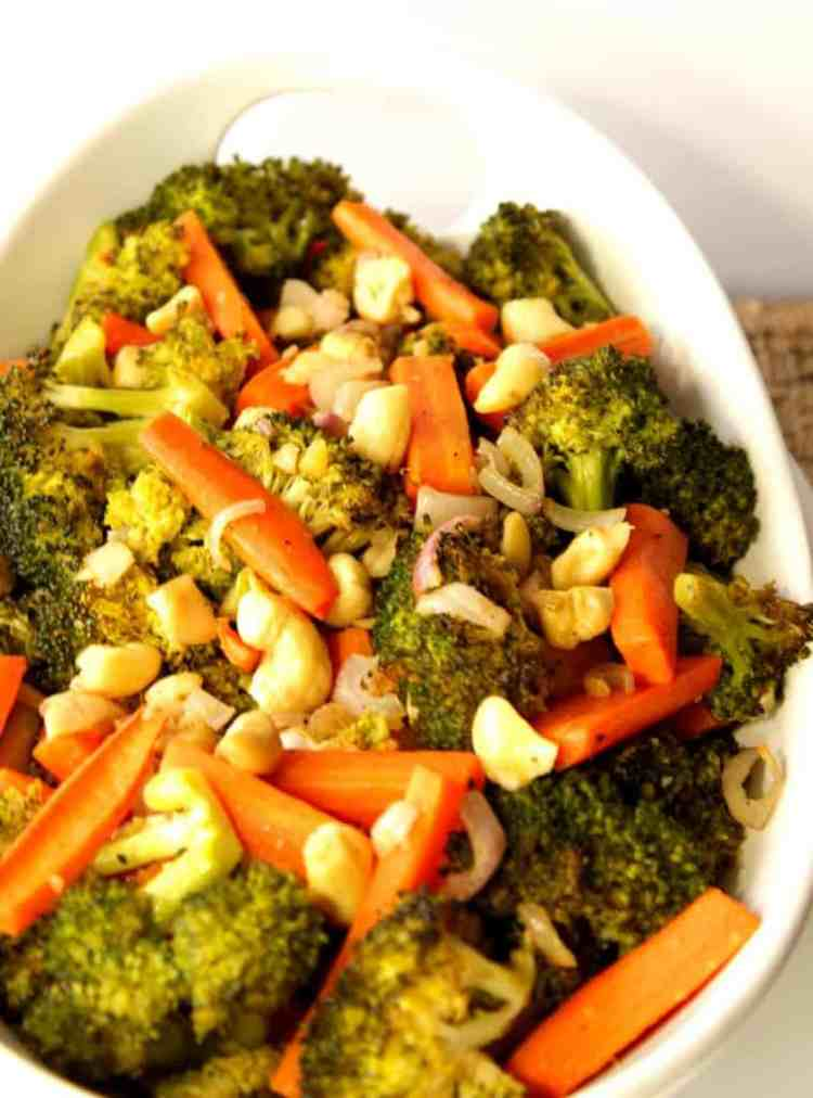 Carrots, Broccoli, Shallots and Cashews roasted in the oven.