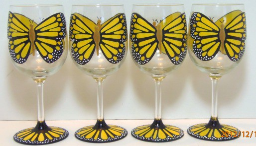 Set of 4 Yellow Monarch Wine Glasses