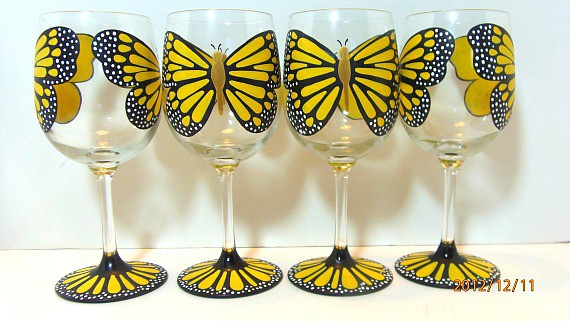 Hand Painted Yellow Monarch Wine Glasses