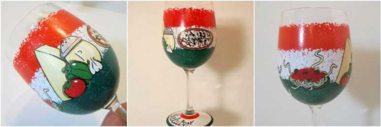 Hand Painted Italian Themed Wine Glass