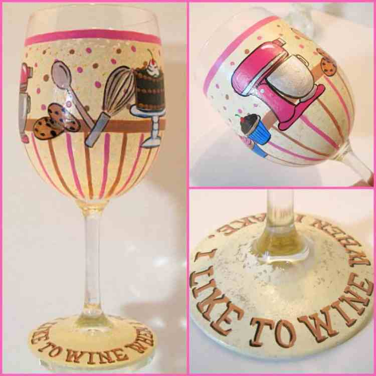 Hand Painted Wine When I Bake Wine Glass
