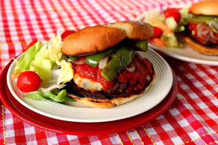 Italian Sausage Pizza Burger with Peppers - Kudos Kitchen by Renee