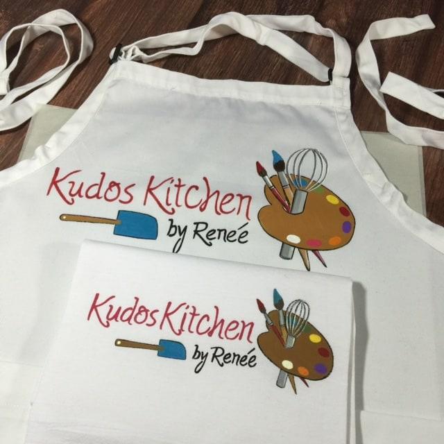 Hand Painted Kudos Kitchen Logo Fabrics