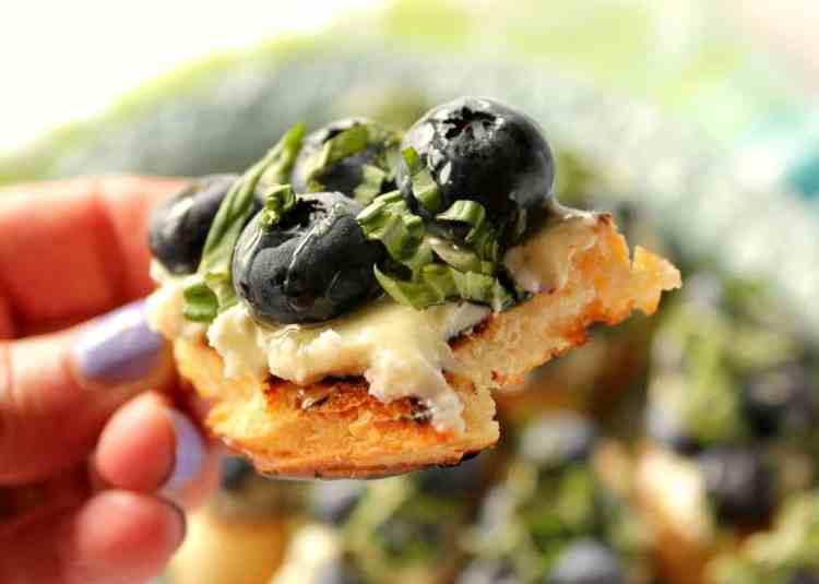Delicious and easy blueberry and goat cheese appetizer.