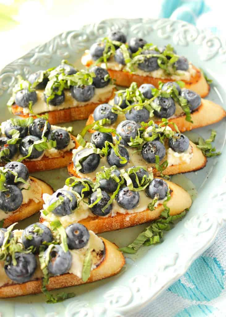 Delicious Blueberry Basil Bruschetta