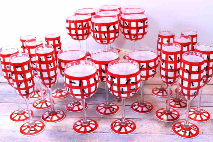 Hand Painted Gingham and Ants Glassware Sets