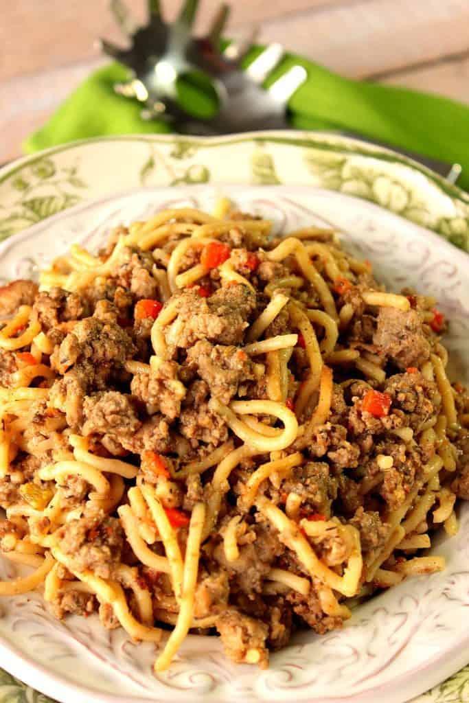 Ground Turkey Bolognese Over Spaghetti
