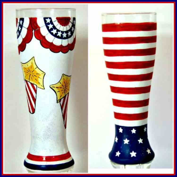 Firecracker and American Flag Inspired Hand Painted Beer Glasses