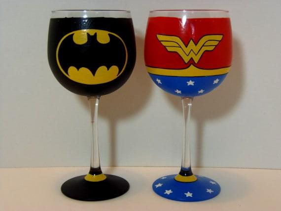 Batman and Wonder Woman Hand Painted Wine Glass