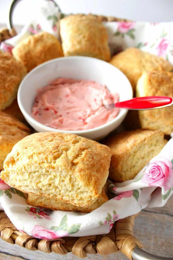 Homemade Cream Cheese Biscuits with Strawberry Butter