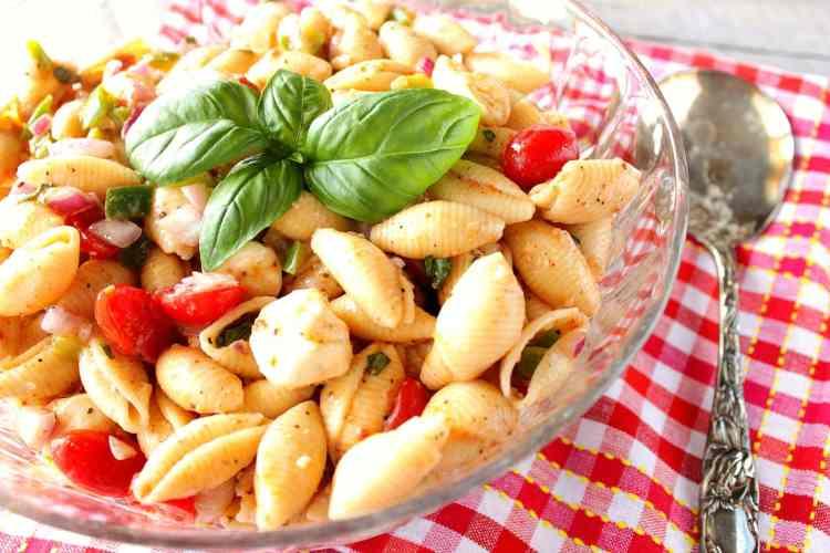 Italian Shell Pasta Salad with Mozzarella, Basil & Tomatoes - kudoskitchenbyrenee.com