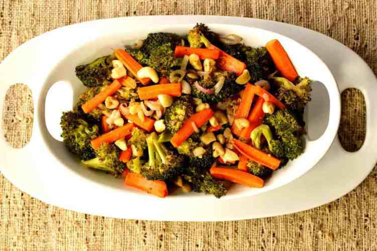 Roasted Carrots Broccoli and Cashews Recipe