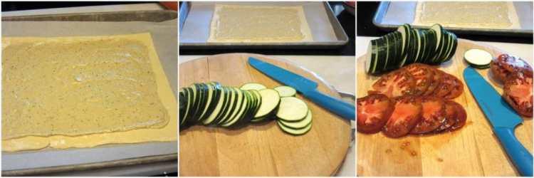 Making tomato zucchini puff pastry tart.