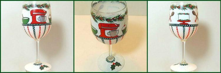 Hand Painted Christmas Baker Wine Glass