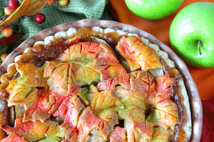 Autumn Leaves Painted Pie Crust Apple Pie