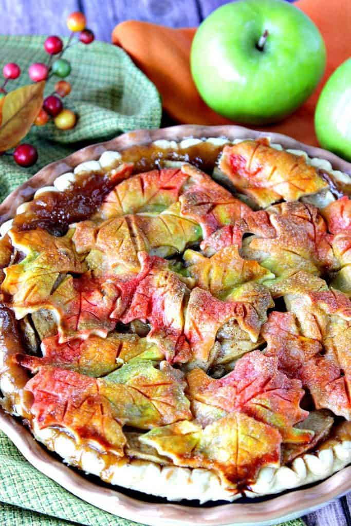 Apple Pie with colorful Autumn Leaves Crust