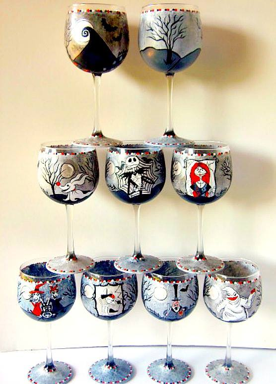 Hand Painted Nightmare Before Christmas Wine Glass Set