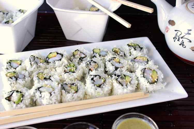 Shrimp Avocado Sushi Rolls to make at home.