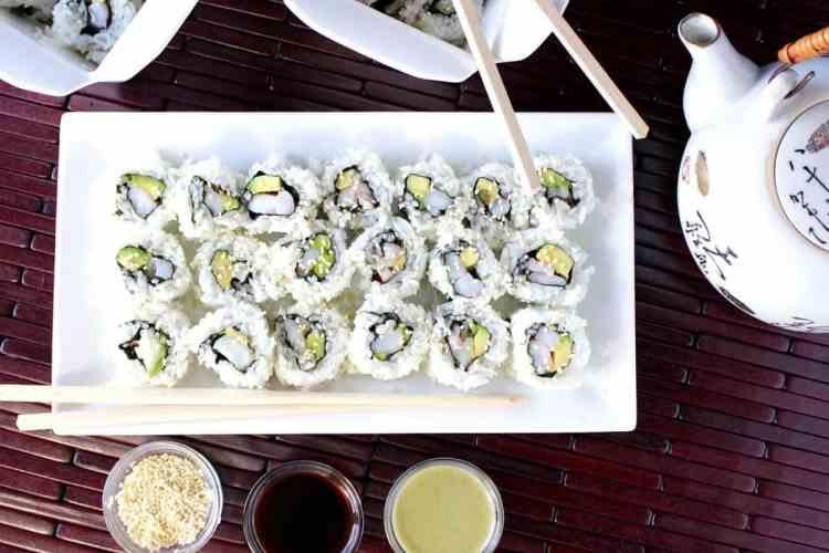 Homemade Avocado Shrimp Sushi
